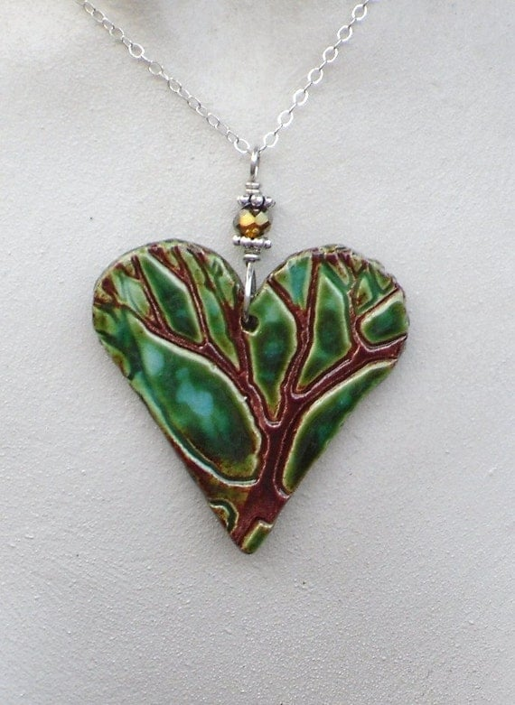 Items similar to Heart Tree Ceramic Pendant Necklace in