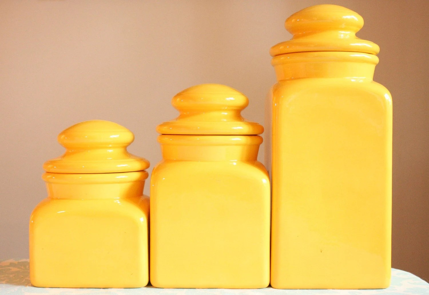 Vintage Sunny Yellow Canister Set 1970s Ceramic by magiebelle
