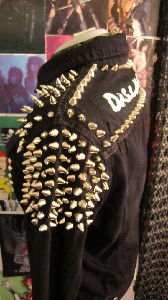 BLOWOUT SALE Studded Punk Rock DISCHARGE Black Denim Jacket