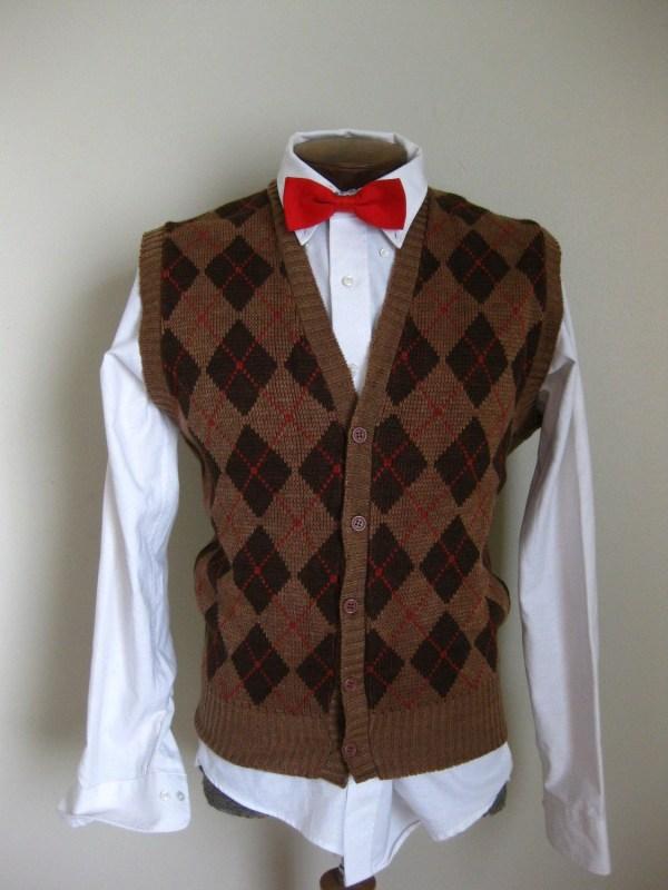Vintage 70' Brown Argyle Sweater Vest Vommeervintage
