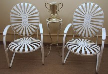 Rare Vintage Pair Of Francois Carre French Button Seat