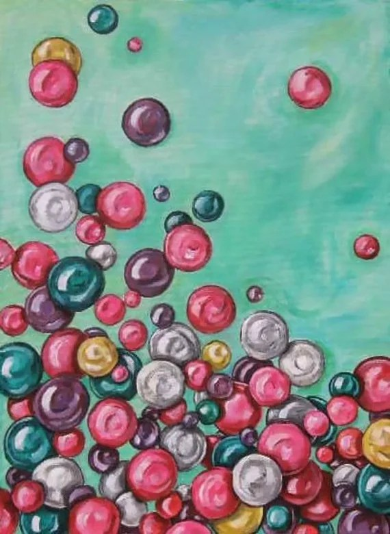 Items Similar To Bubbles Painting Original Painting