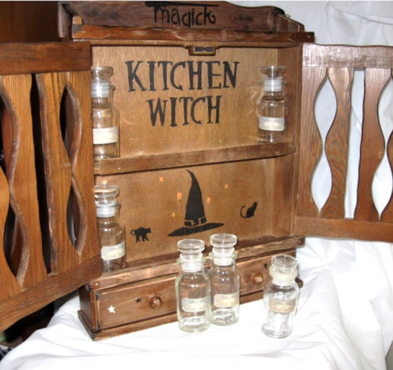 A Vintage Kitchen Witchs Apothecary Witch Herb Cabinet Storage