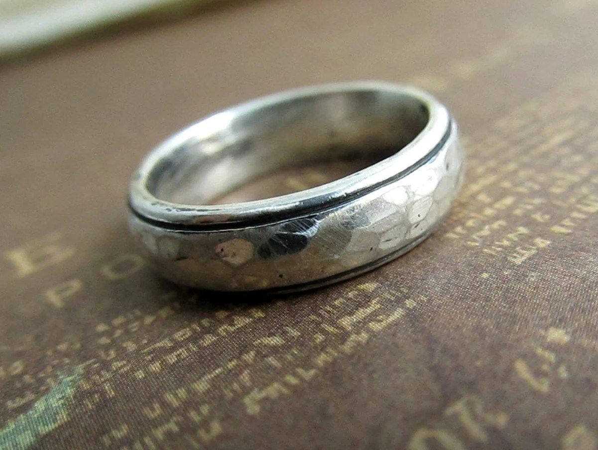 Rustic Mens Band Silver Wedding Ring by JCMetalsmithJewelry