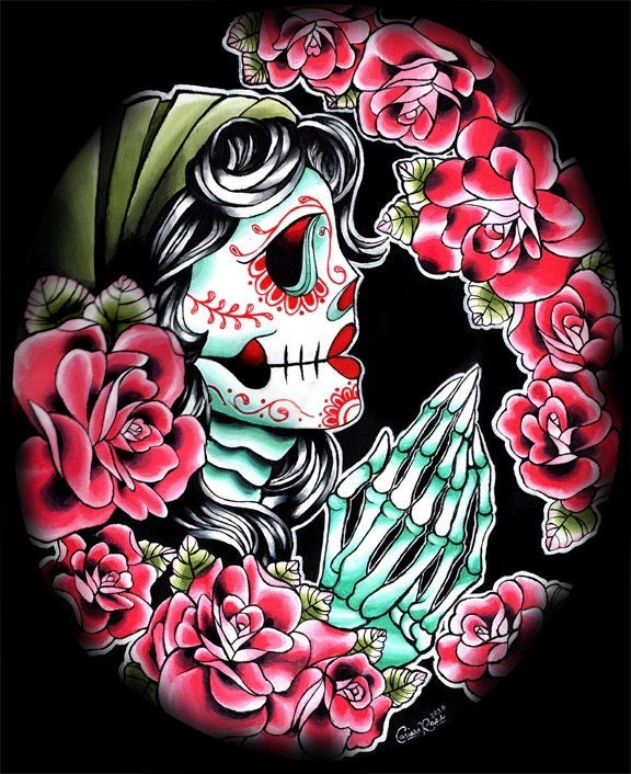 Praying Muertos Los De Dia Woman Tattoo