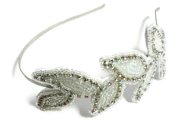 Beaded Rhinestone Headband, Wedding Hairpiece, leaves Hair Accessory with Crystals and Seed Beads, Bridal, Prom - MegansBeadedDesigns