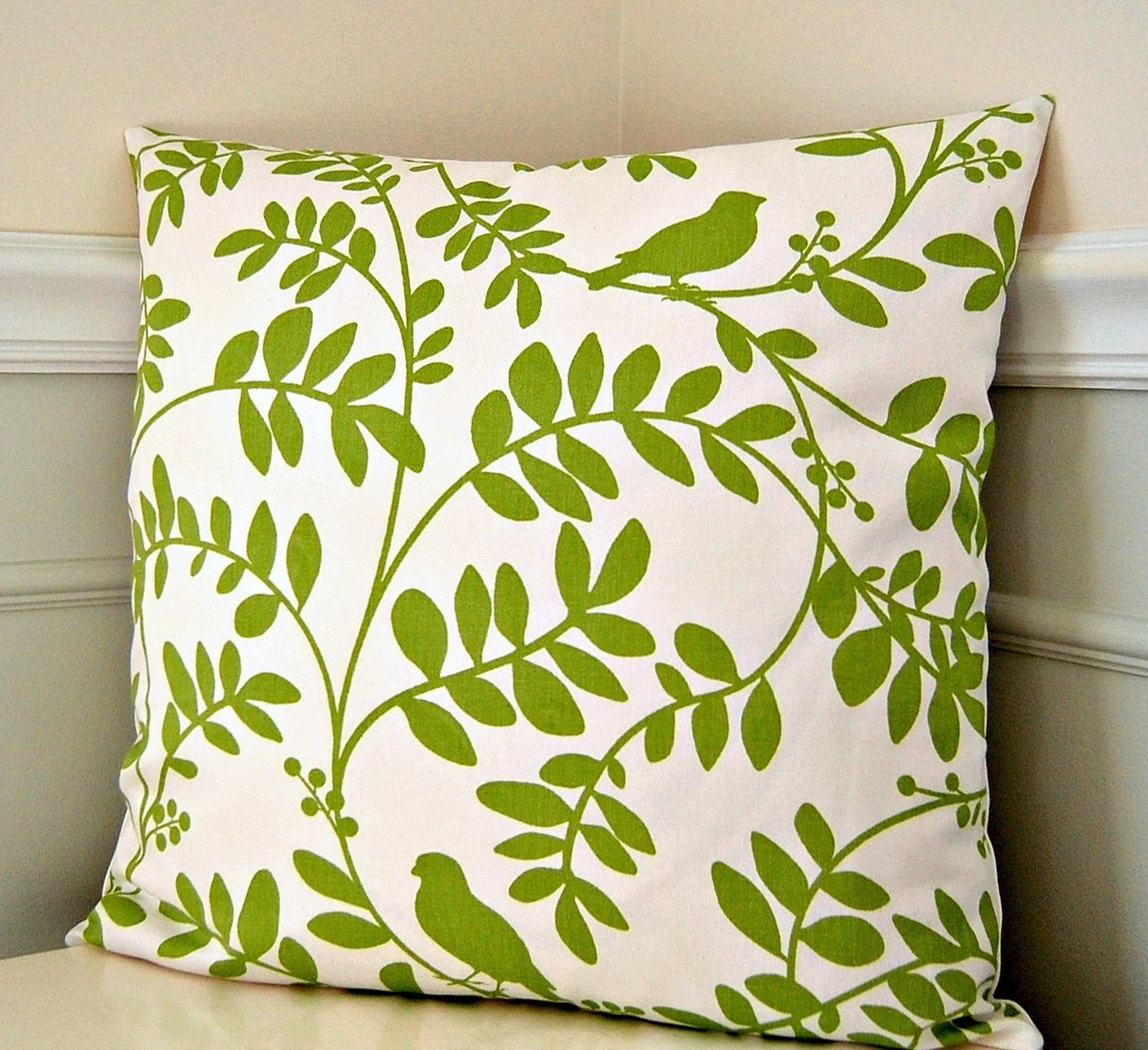 Green Floral Pillow Cover Green and White Throw Pillow 18x18