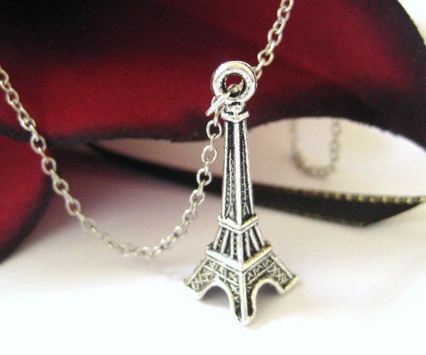 Silver Eiffel Tower Necklace Charm Luckymejewelry