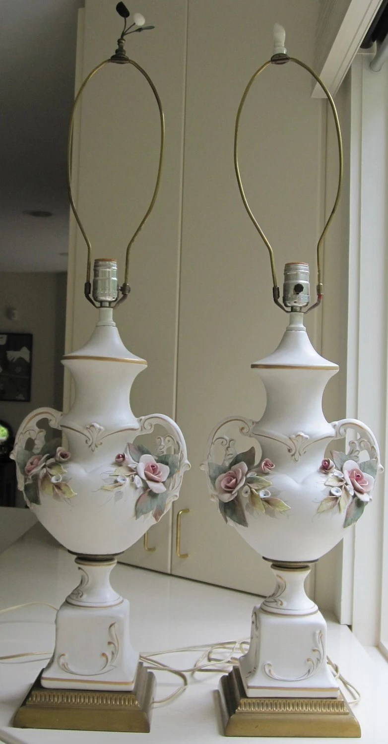Italian 50s Capodimonte Table Lamps Urn Shape With Roses