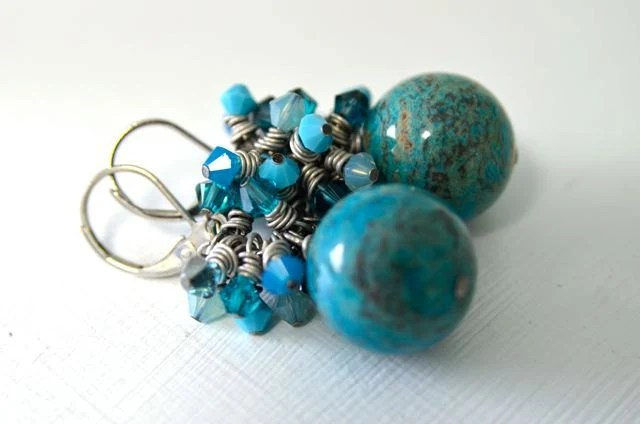 Imperial Turquoise Earrings Crystal Earrings Ready to Ship