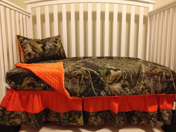 Items similar to Camo 4 piece set made with Mossy Oak fabric and Orange minky dot baby Crib or