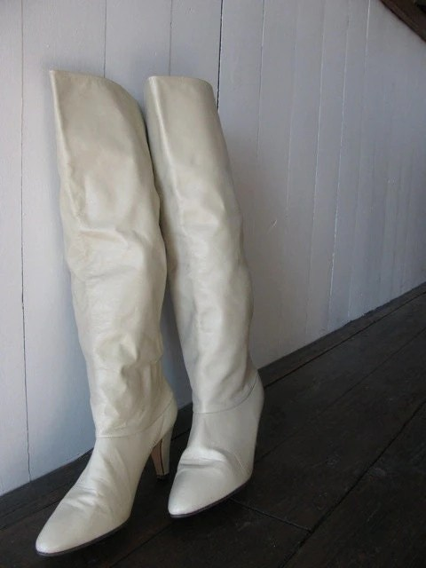 Vintage Tall Cream Color Leather Boots by Joyce of by