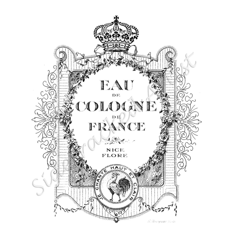 INSTANT Download Vintage French Perfume Label / DIGiTAL IMAGE