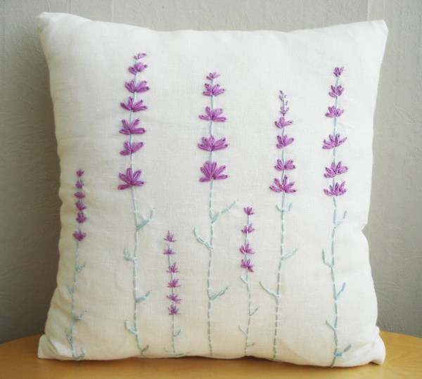 Hand Embroidered Lavender Pillow Cover 14x14 Sukanart