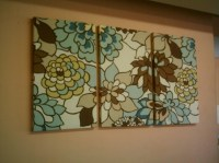Big Fabric Wall Art Duck egg Blue Brown Taupe Funky Retro