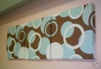 Fabric Wall Art Duck egg Blue Brown Funky Fabric Designer
