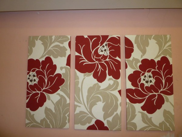 Red Big Fabric Wall Art Cream Taupe Funky Retro