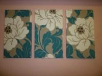 Big Fabric Wall Art Teal / Petrol Blue Cream Taupe Funky Retro