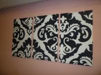 Black White Damask Fabric Wall Art Funky Retro by WickedWalls
