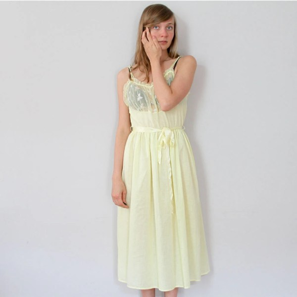 ON SALE 70s Yellow Slip Dress Sheer Floral Nightgown S M