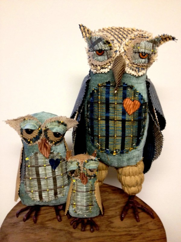 Victor Owl And Kids. Ooak Fabric Textile Primitive
