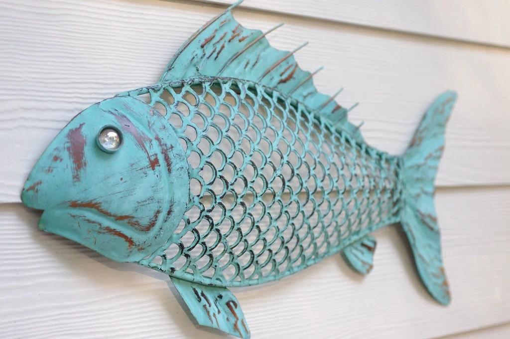Beach Wall Decor Metal Fish Blue Green Patina