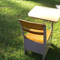 Chair Connected To Desk Wine Barrel Adirondack Chairs Vintage School And Attached Wood Metal Free