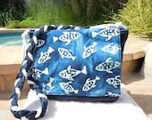 Blue Batik Fish Beach Bag - nanioriginals