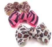 dog hair bows 3 animal print