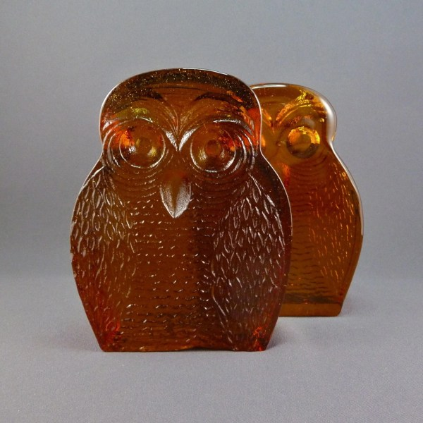 Blenko Glass Owl Bookends