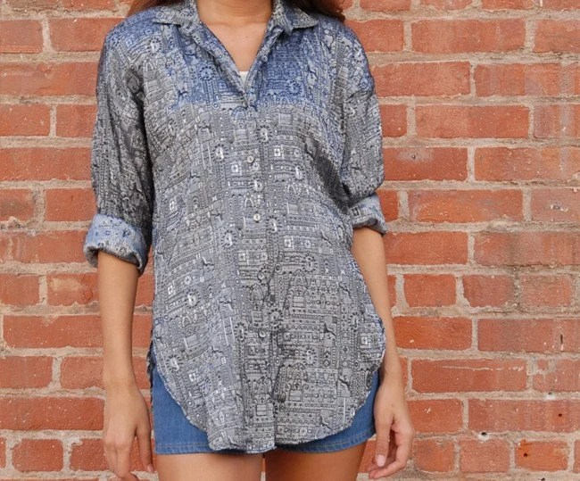 Early 90s Smoke Jacquard Shirt Dress woven geometric horse print Small
