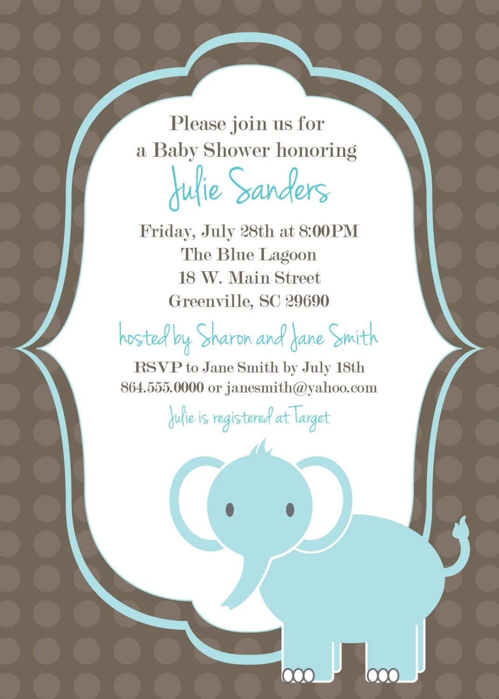 Printable Baby Shower Invitation Elephant Boy By Ohcreativeone