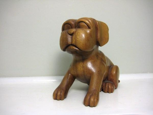 Carved Wood Sculpture Dog