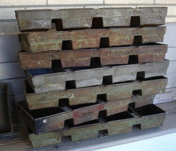 Vintage Industrial Metal Bread Loaf Pans