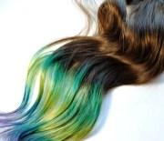 peacock human hair extensions dip