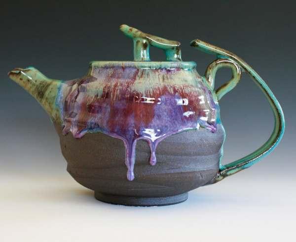 Yuri Lotus Teapot Handmade Stoneware Holds 60 Oz