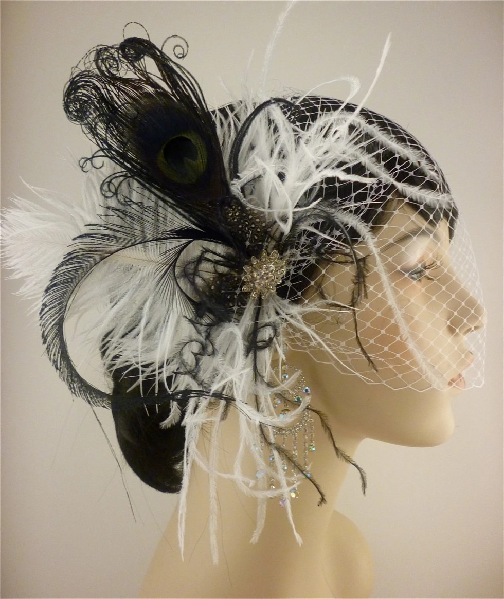Rock On - Bridal Feather Fascinator, Bridal Fascinator, Fascinator, Bridal Headpiece, Bridal Veil, Wedding Veil, Black and White