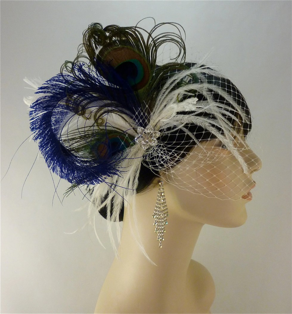 Feather Bridal Fascinator, Bridal Fascinator, Fascinator, Bridal Headpiece, Wedding Veil, Bridal Veil, Blue, Ivory and Purple- Rock On x 2