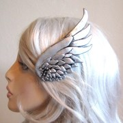 silver wing hair clip left side