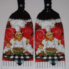 Kitchen Cotton Yarn Rolling Cart 2 Pasta Fat Chef Hanging Crochet Top Dish Towel Black