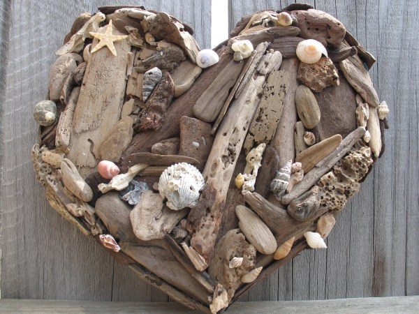 Rustic Beach Decor Natural Driftwood And Sea Shell Heart
