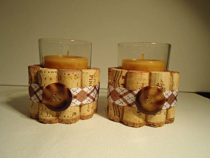 Upcycled Wine Cork Votive Candle Holders Brown