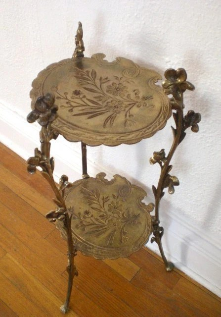 Antique Brass Plant Stand Vintage Two Tiered by