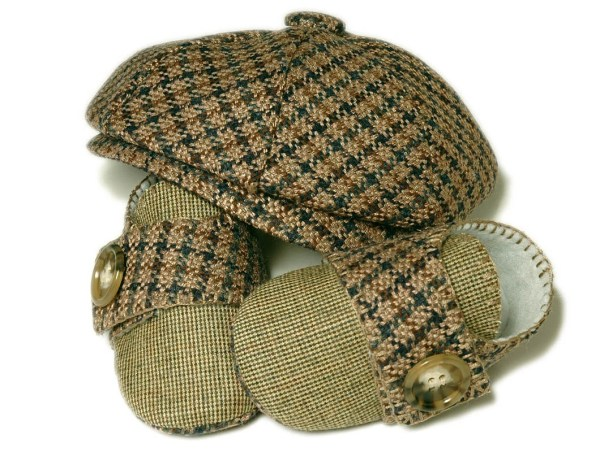 Baby Boy Newsboy Hat Set Ring Bearer Houndstooth and Linen