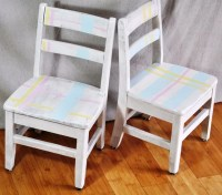 Kid's Painted Chairs. Pastel Plaid Shabby Chic by
