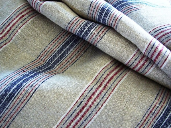 French Striped Linen Fabric