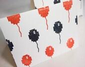 8Bit Balloons card, pixel halloween birthday notecard - blackbirdandpeacock