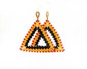 Africa. Tribal geometric shape red yellow black  earrings. African spirit summer fashion jewelry - CallOfEarth