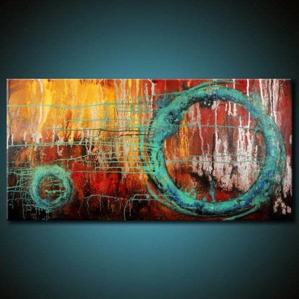 Modern Abstract Painting 48x24 Canvas Colorful Original