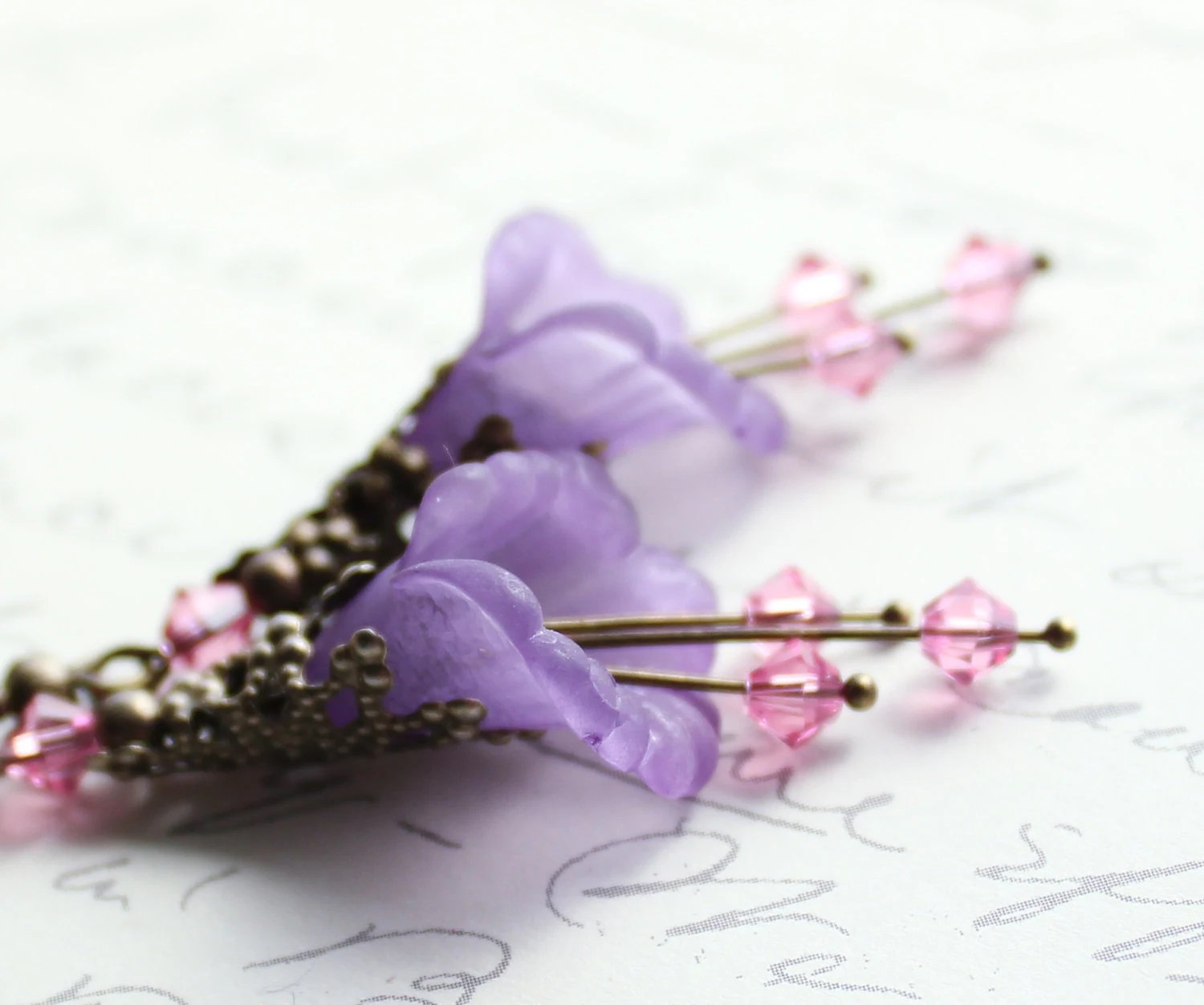 Lilac Flower Earrings, Mauve, Pink Swarovski, Lavender Purple, Trumpet Flower Earrings, Lucite Earrings, Antique Brass Filigree, Floral - apocketofposies